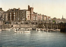 "P41 Vintage 1890's Photochrom Photo Harbour Pier Bridlington - Print A3 17""x12"""