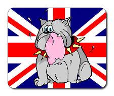 Cartoon, Crying Bulldog Mouse Mat - Union Jack Flag