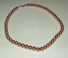 ASHES OF ROSES PINK GLASS PEARL NECKLACE SILVER PL 16 INCH strand summer PRL