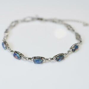 Australian Black Triplet Opal Bracelet - Sterling Silver