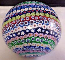 """Murano Antica Murrina Veneziana Art Glass Paperweight, 3 1/2 """" diam. Milliefiori"""