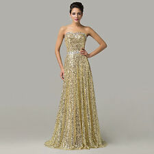 Glitter Long Sequins Evening Party Prom Ball GOWN Wedding Maxi Dress Banquet NEW