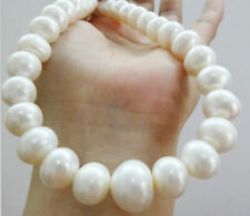 "TOP HUGE 18""15MM NATURAL SOUTH SEA GENUINE WHITE PEARL NECKLACE 14K"