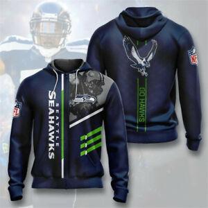 Seattle Seahawks 3D Hoodie Football Hooded Sweatshirt Fans Casual Zipper Jacket