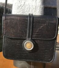 One World By Brighton Black Reptile Texture Leather Flap Crossbody Bag 870 AC317