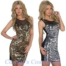Sparkle SEQUIN Design GOLD/SILVER Front BLACK Bodycon MINI Dress MESH Top 8-10