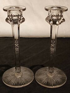 2 Antique Faceted Cut Clear Uranium Glass Candlestick Candle Holders 8""