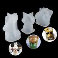 3D Silicone Mold Bulldog head Pig Rabbit Epoxy Resin Molds Candle Making Tool ME