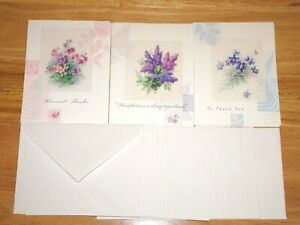 Pretty Flower Bouquets (Heartline Hallmark Cards) 11 Thank You Cards & Envelopes