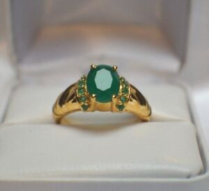 3.64ct NATURAL INDIAN EMERALD COCKTAIL GYPSY DINNER 14K YELLOW GOLD SILVER RING