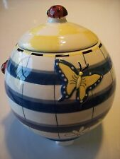 CBK Yellow Blue Plaid Check Ladybug Butterfly Flour Sugar Canister Jar @ cLOSeT