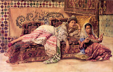 Oil painting rudolf ernst - the reader young arab women in sitting room canvas
