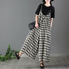 Women Loose Bib Pants Checked Suspenders Baggy Overalls Sleeveless Jumpsuit New