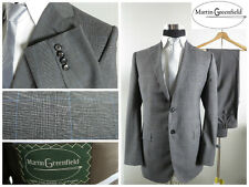 NWOT Martin Greenfield Mens Suit Blazer Pants Wool 40 L 34 L Gray Plaid Checks