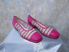 60s Vintage Hot Pink cuero y malla zapatos talla 3 H. o acaso & Ouda Mod Scooter