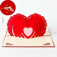 3D Pop Up Greeting Card Heart Wedding Birthday Valentines Anniversary Thank Gift