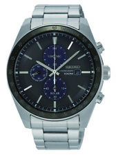 Seiko Solar Chronograph Stainless Steel Black Dial Mens Watch SSC715P1 43mm