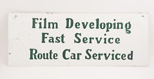 Film Developing Sign Double Sided(F1R)Fast Route Car Serviced Tin Green on White