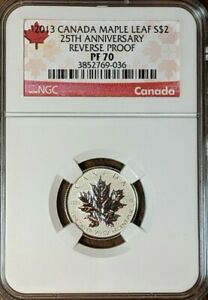2013 $2 CANADA 1/10 oz Silver Maple Leaf NGC PF70 Reverse Proof 25th Anniversary