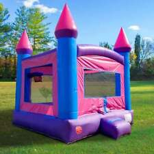 Inflatable Bounce House  With Blower Pink Blue Backyard Bouncy Castle Moonwalk