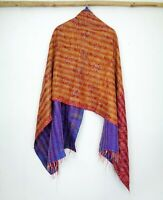 Silk Kantha Scarf Head Wrap Stole Dupatta Hand Quilted Women Scarves Reversible