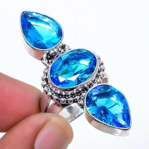 Blue Topaz Gemstone 925 Sterling Silver Jewelry Ring s.9 T2774