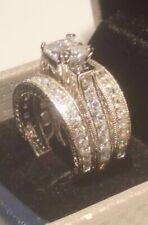 Princess Round Diamond Antique Engagement Ring Wedding Band Sterling White Gold
