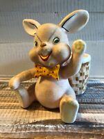 Vintage 1950's Napco Flocked Easter Rabbit Bunny & Bow Tie Planter Vase Japan