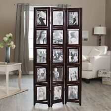 Memories Double Sided Photo Frame Room Divider - Rosewood 3 Panel - 8 x 10,