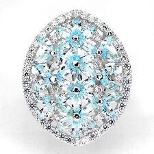Großer Ring Blautopas Sky Blue & CZ 925 Silber 585 Weißgold vergoldet Gr. 57