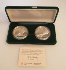 Calgary 1988 Olympic $20 Silver Proof 2-Coin Set, Canada skiing/speed skating