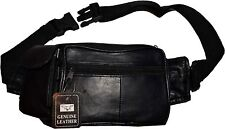 "New Leather Black waist pouch waist bag Fanny pack waist pack 48"" 1.5"" band BNWT"