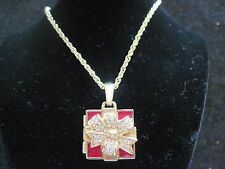 Swarovski Swan Signed Red Enamel Gift Box Necklace that opens Red Crystal 457