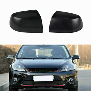 For Ford Focus MK2 Pair Wing Mirror Cover Black Rearview Cap 2005 2006 2007 2008