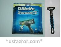 *9 Gillette 8 Sensor3 Blades Cartridges Refills V3 Razor Shaver Handle Excel USA