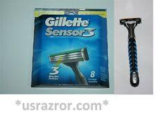 *9 Gillette 8 Sensor3 Blades Cartridges Refills V3 Razor Shaver Handle Excel USA