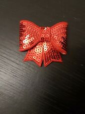 Red 3D sequin bow hotfix iron on Motif patch Lace xmas costume Applique