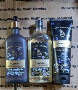 Bath Body Works AROMATHERAPY INSPIRE VIOLET SANDALWOOD EUC CREAM + LOTION + WASH