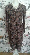 Laura Ashley Vintage 80s Black Floral Dress Size12 14 Victorian Edwardian Rare