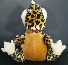 "Dinosaur Plush Stuffed Animal Dragon Leopard Brown Spots BJ Toy Co 14"" Vintage"