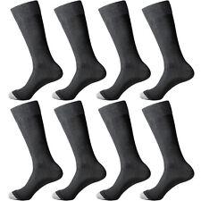 8 Pairs Lot Mens Black Solid Classic Business Dress Popular Large Socks SZ 9-12