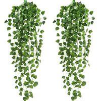 2 Pcs Artificielle Ivy Guirlande Faux Suspendus Plants de Vigne Faux Feuill K3B7
