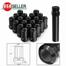 20 Black 12x1.5 Bulge Acorn Steel Lug Nuts Open End for Honda Acura Ford Chevy