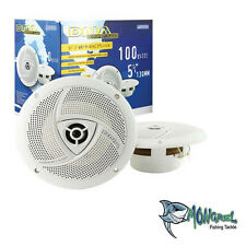 "5.25"" WHITE PAIR 2-WAY 100W MARINE BOAT OUTDOOR STEREO SPEAKER"