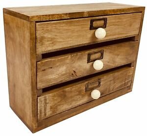 Vintage Style Solid Wood Wall Desk Home Document Storage 3 Drawer Organiser