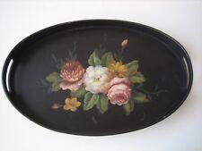 Antico vassoio ovale in legno con dipinto di rose eseguito a mano