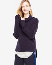NWT Ann Taylor Ribbed Hi-lo Turtleneck Sweater $98Size XS NIght Sky Navy Blue 12