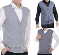 Mens Cotton Cashmere Knitted Vest Sweater Sleeveless Tank Top Waistcoat Jumper