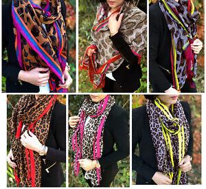 Ladies Leopard Print Scarf Animal Scarf Large Long Wrap Shawl Fashion Cotton Big