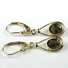 Smoky Quartz, 14KY Gold Leverback  Earrings, E008